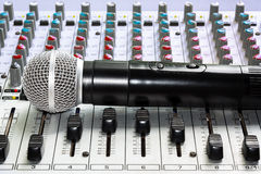 Mixer and microphone Royalty Free Stock Image