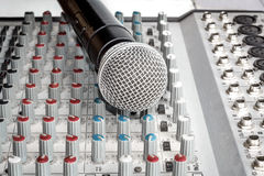 Mixer and microphone Royalty Free Stock Photos