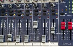 Cursor of mixer used for menage the sound in live concert. The mixer Panel with more cursor used to create electronic or Rap music Stock Images