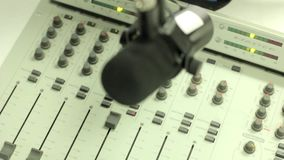Mixer in the radio Studio stock video footage