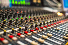 Mixer in the recording studio Royalty Free Stock Images