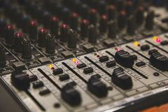 Mixer table perspective view blurred. With copy space perspective shot royalty free stock photos