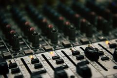 Mixer table perspective view blurred. With copy space perspective shot stock photography