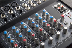 Mixer table. With several knobs Stock Image
