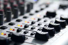 Mixer to adjust the sound and recording Stock Images