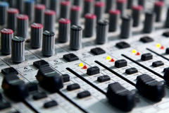 Mixer to adjust the sound and recording Royalty Free Stock Photo