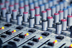 Mixer to adjust the sound and recording Stock Photos