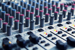 Mixer to adjust the sound and recording Royalty Free Stock Photography