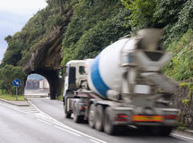 Mixer truck and tunnel Royalty Free Stock Photo