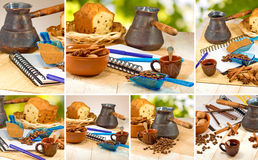Mixes of coffee, tea and biscuits Royalty Free Stock Photos