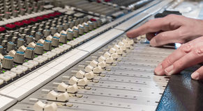 Mixing. At recording professional studio royalty free stock image