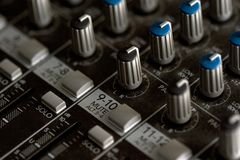Mixing board. Detail stock photography