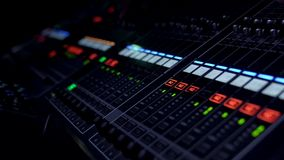 Mixing Board Faders Pro audio mixing board on live, video 4K stock footage