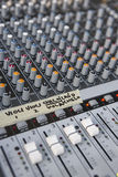 Mixing board panel equipment detail. Sound technology background Stock Photo