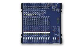 Mixing Board, Sound Mixer, audio equipment  on white, top view. Mixing Board, Sound Mixer, audio equipment  on white background, top view Royalty Free Stock Photo