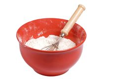 Mixing bowl with flour Royalty Free Stock Images
