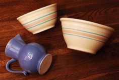 Mixing Bowls. Pottery mixing bowls and a pitcher Stock Image