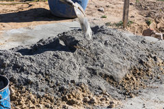 Mixing Cement And Sand Stock Photo