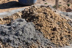 Mixing Cement And Sand Royalty Free Stock Photos
