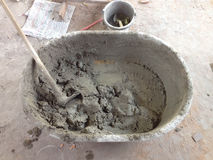 Mixing Cement Bowl Stock Images