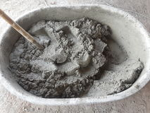 Mixing Cement for Plastering Royalty Free Stock Photo
