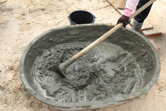 Mixing a cement in salver Royalty Free Stock Photos
