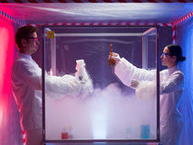 Mixing chemical substances in sterile chamber Royalty Free Stock Image