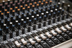 Mixing Console. Close up on a mixing console Royalty Free Stock Photos