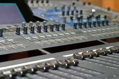 Mixing Console. Top view of a mixing console in a music studio Stock Photos