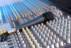 Mixing console. Studio microphone and mixing console Stock Images