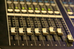 Mixing Console. Audio mixing board close up Royalty Free Stock Photography