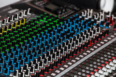 Mixing console for audio recording. Remote control for audio recording, mixing console for audio recording stock image