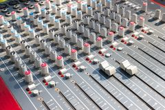 Mixing Console of a big HiFi system, The audio equipment and control pane. Close up Mixing Console of a big HiFi system, The audio equipment and control panel of stock photos