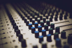Mixing console closeup Stock Photos