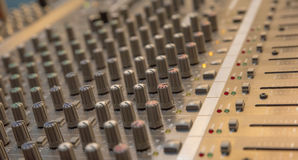 Mixing console. Controller of a sound mixer Royalty Free Stock Photo