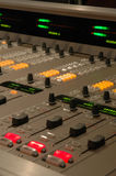 Mixing console detail. Detail of a digital audio mixing console Royalty Free Stock Image