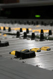 Mixing Console Detail I. Detail of a digital audio mixing console stock photography