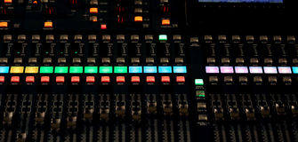 Mixing Console e of a big HiFi system. Big mixing console with channel to change volume and bass and treble Royalty Free Stock Photography