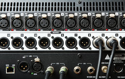 Mixing console. Electronic device intended for reference of sound signals. Mixing console Royalty Free Stock Image