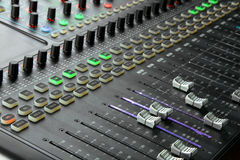 Mixing console. Electronic device intended for reference of sound signals. Mixing console Stock Photos