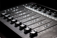 Mixing Console - faders Royalty Free Stock Photos