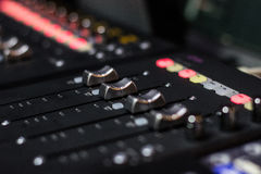 Mixing Console - faders Royalty Free Stock Image