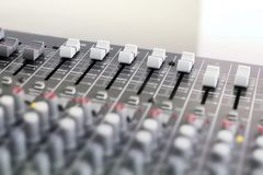 Mixing console for microphone. Sound equipment royalty free stock photos
