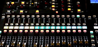 Mixing Console with potentiometers and sound equalizer Stock Image