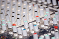 Mixing Console. In professional audio, a mixing console, or audio mixer, also called a sound board, mixing desk, audio production console, or mixer is an Royalty Free Stock Photo
