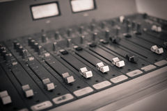 Mixing console at the radio station Stock Photos