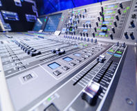 Mixing console. Sound mixer. Stock Photography