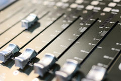 Mixing console. Sound mixer. Royalty Free Stock Images