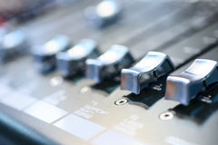 Mixing console. Sound mixer. Royalty Free Stock Photos