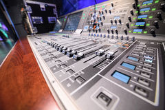 Mixing console. Sound mixer. Royalty Free Stock Image